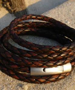 Geflochtenes Lederarmband Damenarmband Wickelarmband