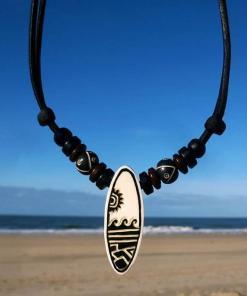 """Surferkette Surfbrett """"Wellen"""" Lederhalskette"""