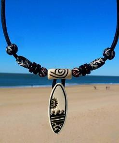 Surferkette Sylter Surfbrett Lederkette