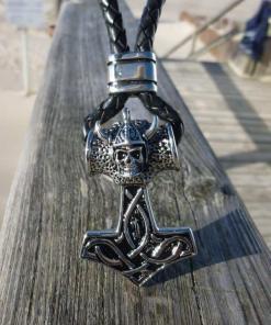 Lederkette Gothic Thor-Hammer Wikinger