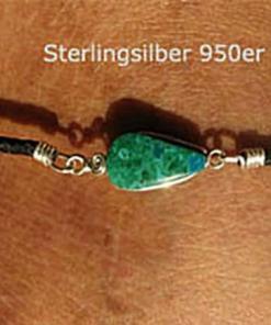 Leder Fussband Türkis Stein Fußkette