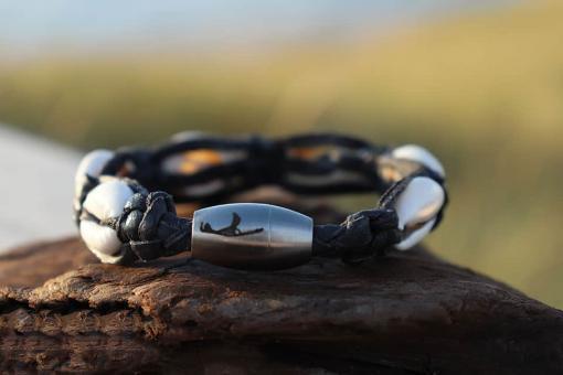Geflochtenes Lederarmband Kaurimuschel Muschelarmband