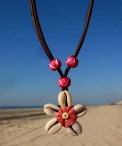 Blumenkette-Kaurimuschel-Aloha-Lederkette