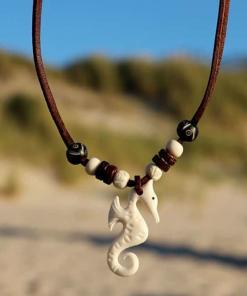 Lederkette Seepferdchen Halskette Surferkette