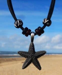 Lederkette Seestern Metallanhänger Halskette