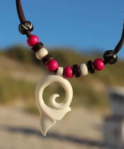 Lederkette Walflosse Halskette Surferkette