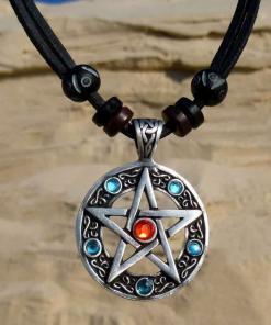 Lederkette Pentagram Herrenkette Halskette