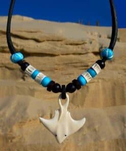 Surferkette Rochen Halskette Lederkette