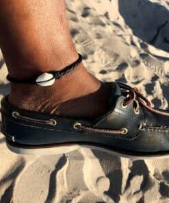 Fußkettchen Leder Kauri-Muschel Fusskette1