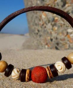 Surfer-Armband Hossegor Koralle Lederarmband