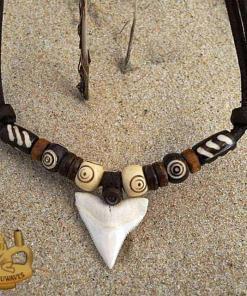 Herrenkette Haizahn Lederkette Halskette