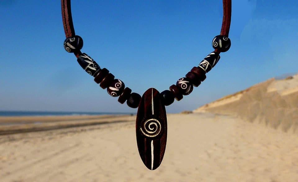 Surferkette Kitesurf Halskette Lederkette.