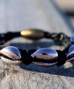 Geflochtenes Leder Gold Muschelarmband