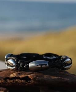 Silber Muschel-Armband Lederarmband Sylt